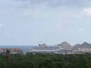 rainy cruise ship in Cabo